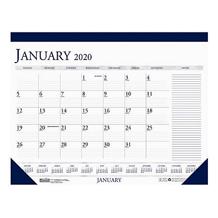 """House of Doolittle Print Monthly Desk Pad Calendar, 17"""" x 22"""", 100% Recycled, Blue/White, January To December 2020, HOD1"""