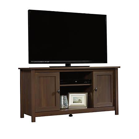 "Sauder® County Line TV Stand For 47"" TVs, 23-7/8""H x 47-3/8""W x 17""D, Rum Walnut"