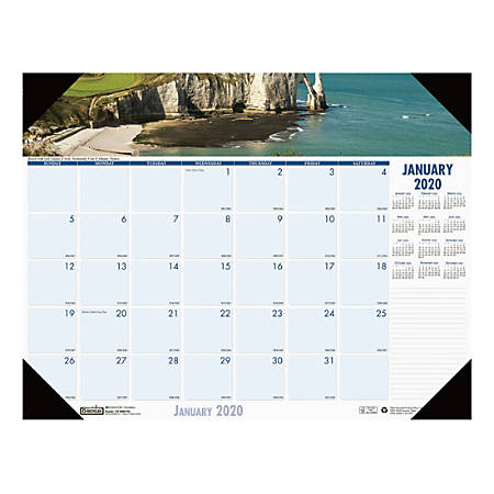 """House of Doolittle EarthScapes Coastlines Monthly Desk Pad Calendar, 17"""" x 22"""", 100% Recycled, January To December 2020, HOD1"""