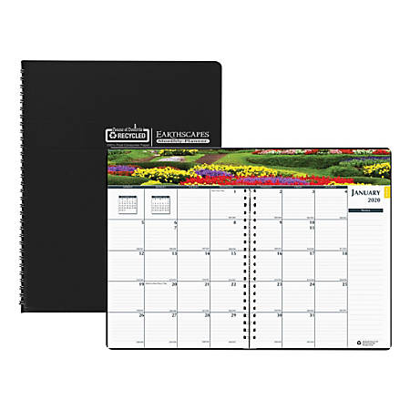 "House of Doolittle Earthscapes Gardens Monthly Planner, 7"" x 10"", 100% Recycled, Black, January To December 2020, HOD2646"