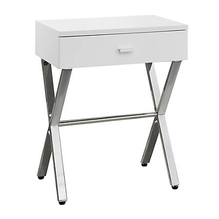 "Monarch Specialties Nicole Accent Table, 22-1/4""H x 18-1/4""W x 12""D, White/Silver"
