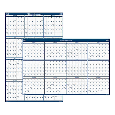 "House of Doolittle Dated Laminated Wall Planner, 66"" x 33"", 100% Recycled, Blue/Gray, January To December 2020, HOD39"