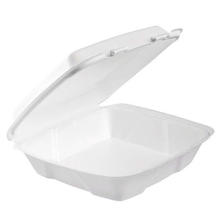 "Dart® Hinged-Lid Foam Containers, 3""H x 9""W x 3""D, White, 100 Containers Per Bag, Carton Of 2 Bags"