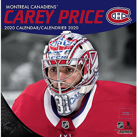 "Turner Licensing Monthly Wall Calendar, 12"" x 12"", Carey Price, 2020"