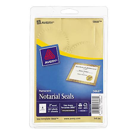 """Avery® Permanent Self-Adhesive Notarial Seals, 2"""" Diameter, Pack Of 44"""