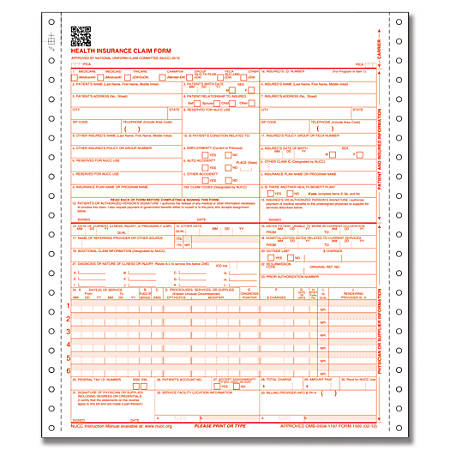 "ComplyRight™ CMS-1500 Healthcare Billing Forms, 3-Part, 9 1/2"" x 11"", White/Canary/Pink, Pack Of 1,000"