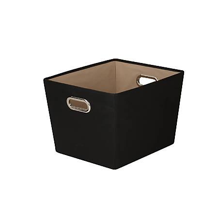 "Honey-Can-Do Medium Decorative Tote Bin With Handles, 15 3/4""L x 13""W x 10 13/16""H, Black"