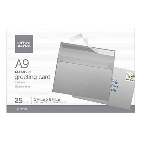 """Office Depot® Brand Clean Seal Greeting Card Envelopes, A9, 5-3/4"""" x 8-3/4"""", Silver Pearl, Box Of 25 Envelopes"""