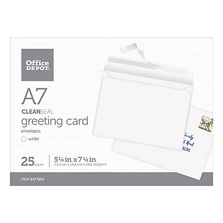 """Office Depot® Brand Clean Seal Greeting Card Envelopes, A7, 5-1/4"""" x 7-1/4"""", White, Box Of 25 Envelopes"""