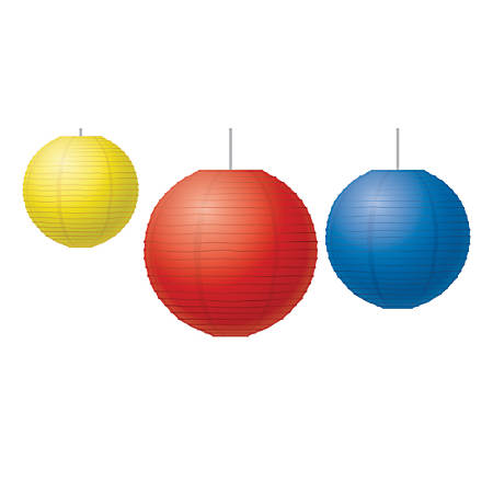 Teacher Created Resources Paper Lanterns, Red/Yellow/Blue, Pack Of 3