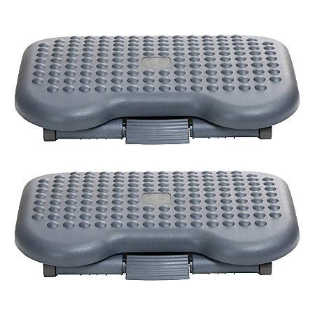 """Mind Reader Adjustable Footrests, 4.4""""H x 17""""W x 13.4""""D, Black, Pack Of 2 Footrests, 2FTREST-BLK"""