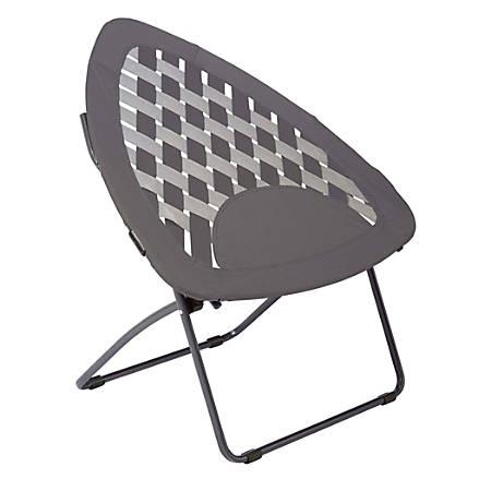 Brenton Studio® Triangle Bungee High-Back Folding Chair, Gray/Gunmetal Gray