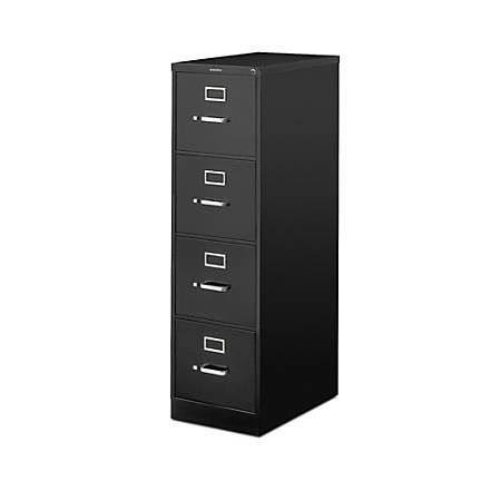 """HON® 510 25""""D Vertical 4-Drawer File Cabinet, Metal, Black"""