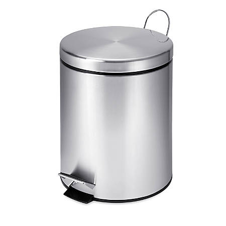 Honey-Can-Do Steel Step Trash Can, Round, 1.3 Gallons, Stainless Steel