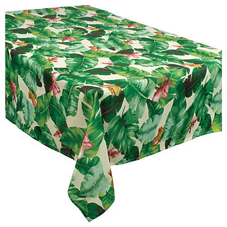 """Amscan Fabric Table Cover, 60"""" x 104"""", Tropical Jungle"""
