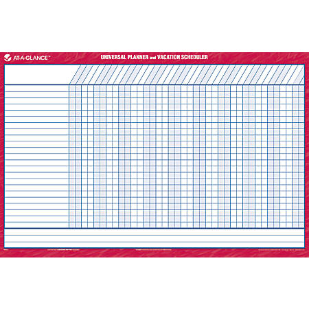 """AT-A-GLANCE® 30% Recycled Undated Erasable/Reversible Wall Planner, Universal/Vacation, 36"""" x 24"""", Blue/Red"""