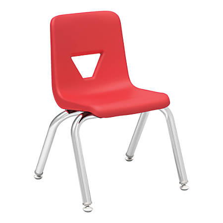 """Lorell® Classroom Student Stack Chairs, 12""""H Seat, Red/Silver, Set Of 4"""