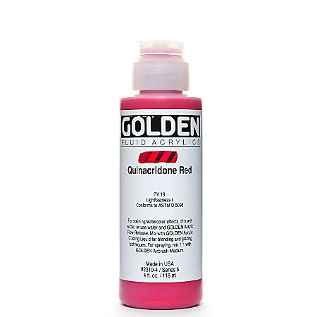 Golden Fluid Acrylic Paint, 4 Oz, Quinacridone Red