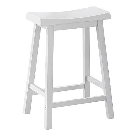Monarch Specialties Saddle Seat Bar Stools, White, Pack Of 2 Stools