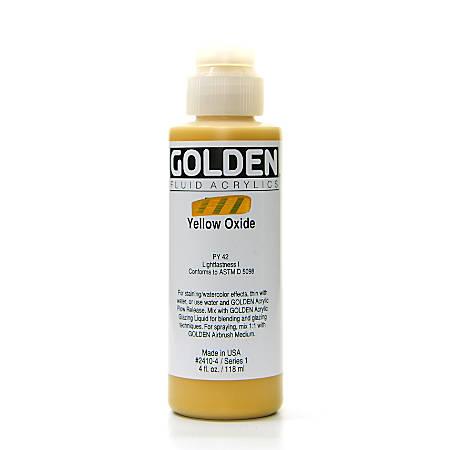 Golden Fluid Acrylic Paint, 4 Oz, Yellow Oxide