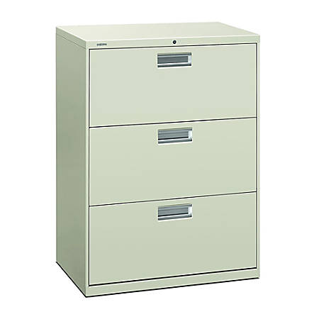 """HON® 600-Series Standard Lateral File With Lock, 3 Drawers, 41""""H x 30""""W x 19 1/4""""D, Light Gray"""
