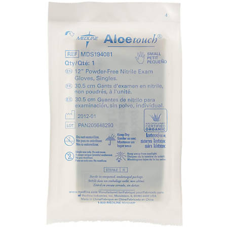 Medline Aloetouch Disposable Powder-Free Nitrile Exam Gloves, Small, Green, Pack Of 400