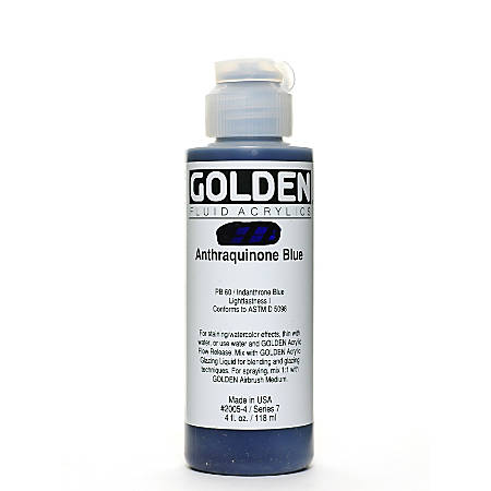 Golden Fluid Acrylic Paint, 4 Oz, Anthraquinone Blue