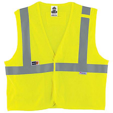 Ergodyne GloWear Flame-Resistant Hi-Vis Safety Vest, Type-R Class 2, Small/Medium, Lime
