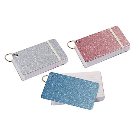 """Office Depot® Brand Glitter Index Cards Set, 3"""" x 5"""", Assorted Colors"""
