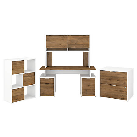"""Bush Business Furniture Jamestown 60""""W Desk With Hutch, File Cabinets And 6-Cube Organizer, Fresh Walnut/White, Standard Delivery"""