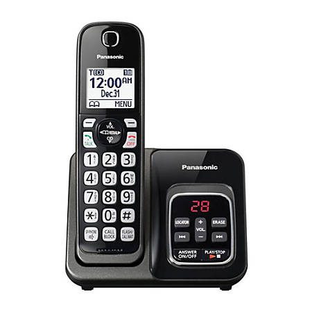 Panasonic® DECT 6.0 Cordless Telephone With Answering Machine, 1 Handset, KX-TGD530M