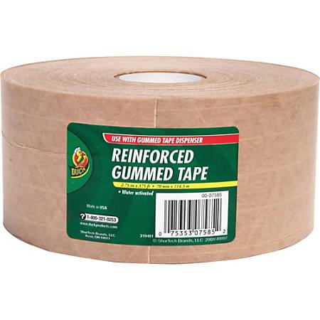 """Duck Brand Brand 375' Reinforced Gummed Tape Roll - 2.75"""" Width x 125 yd Length - Kraft - Kraft Paper Backing - Heavy Duty, Reinforced - 8 / Carton - Brown"""