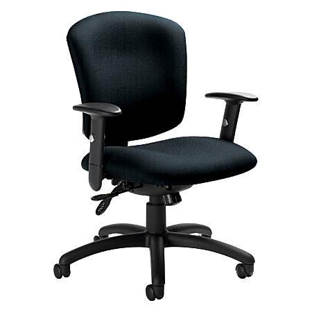 "Global® Supra X™ Mid-Back Multi-Tilter Chair, 38 1/2""H x 25 1/2""W x 23""D, Black Frame, Navy Fabric"