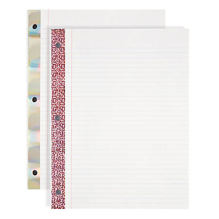 """Office Depot® Brand Notebook Filler Paper, Reinforced, College-Ruled, 8"""" x 10 1/2"""", 3-Hole Punched, White, Pack Of 100 Sheets"""
