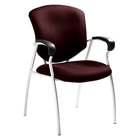 "Global® Supra™ Fabric Guest Chair, 38""H x 25""W x 25 1/2""D, Tungsten Frame, Burgundy Fabric"