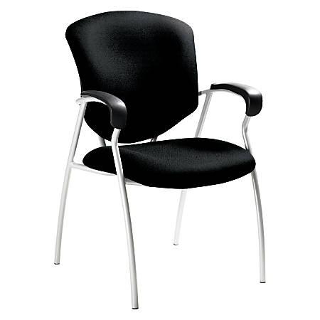 "Global® Supra™ Fabric Guest Chair, 38""H x 25""W x 25 1/2""D, Tungsten Frame, Black Fabric"