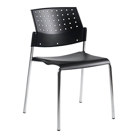 """Global® Sonic™ Armless Stacking Chairs, 32""""H x 20 1/2""""W x 21 3/4""""D, Black, Set Of 2"""