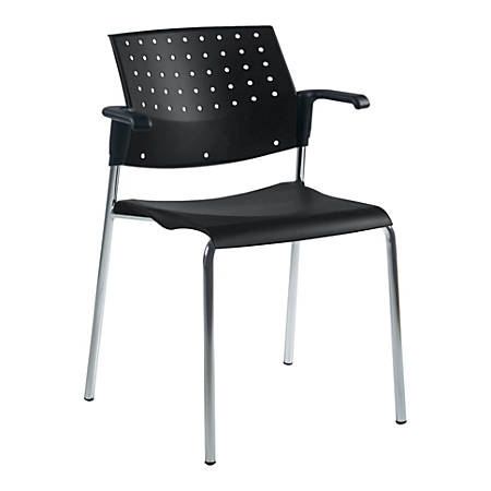 """Global® Sonic™ Stacking Chairs With Arms, 32""""H x 25""""W x 21 3/4""""D, Black/Chrome Frame, Pack Of 2"""