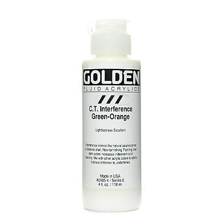 Golden Fluid Acrylic Paint, 4 Oz, Interference Green-Orange (CT)
