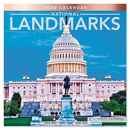 "Mead® National Landmarks Monthly Wall Calendar, 12"" x 12"", January to December 2020, ODE164-10"