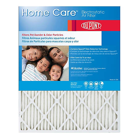 """DuPont Home Care Electrostatic Air Filters, 22""""H x 16""""W x 1""""D, Actual Size, Pack Of 4 Air Filters"""