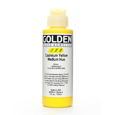 Golden Fluid Acrylic Paint, 4 Oz, Cadmium Yellow Medium Hue