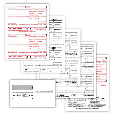 """ComplyRight™ W-2 Tax Forms, With Self-Seal Envelopes, Inkjet/Laser, 2-Up, 8-Part, 8-1/2"""" x 11"""", Pack Of 100 Forms And Envelopes"""