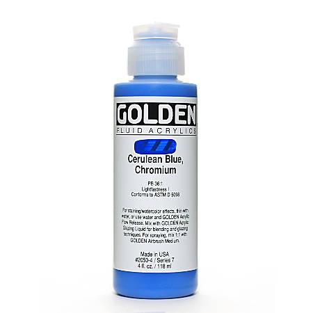 Golden Fluid Acrylic Paint, 4 Oz, Cerulean Blue Chromium