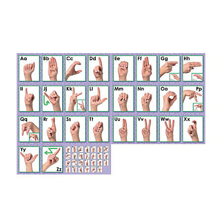"North Star Teacher Resource American Sign Language Alphabet Line Bulletin Board Set, 7 5/8"" x 24 1/4"", Pre-K - College"