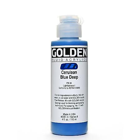 Golden Fluid Acrylic Paint, 4 Oz, Cerulean Blue Deep