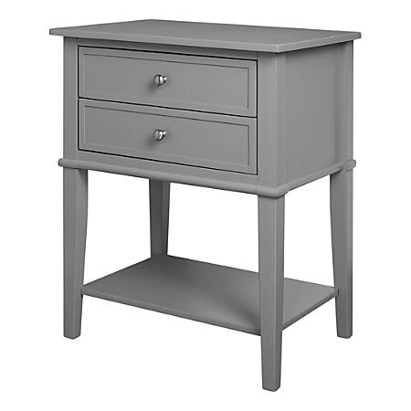 "Ameriwood™ Home Franklin Accent Table With 2 Drawers, Square, 28""H x 22""W x 16""D, Gray"