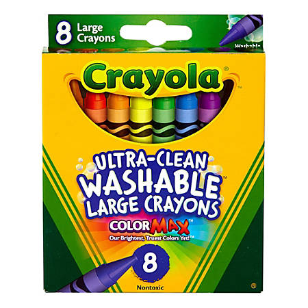 Crayola® Large Washable Crayons, Assorted Colors, Box Of 8