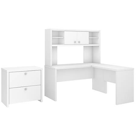 kathy ireland® Office by Bush Business Furniture Echo L Shaped Desk With Hutch And Lateral File Cabinet, Pure White, Standard Delivery