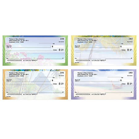 "Personal Wallet Checks, 6"" x 2 3/4"", Singles, Ocean Breezes, Box Of 150"